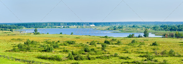 Summer lake panorama - Stock Photo - Images