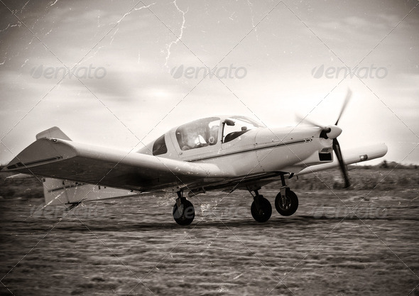 Small plane take off - Stock Photo - Images