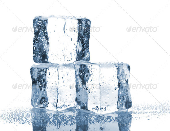 Three ice cubes with water drops - Stock Photo - Images
