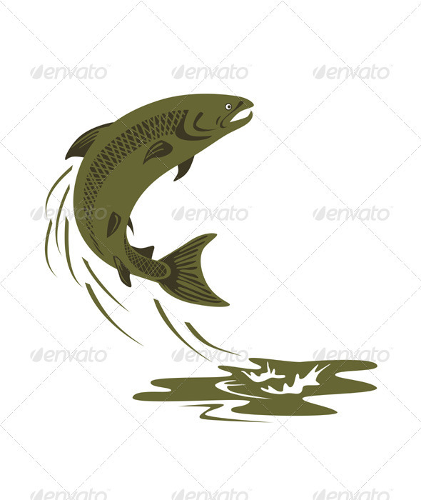 GraphicRiver Trout Fish Retro 3331188