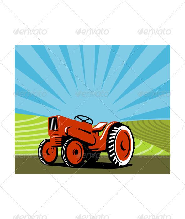 GraphicRiver Vintage Tractor Retro 3331258