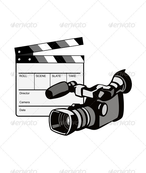 GraphicRiver Video Camera Movie Clapboard Retro 3331278