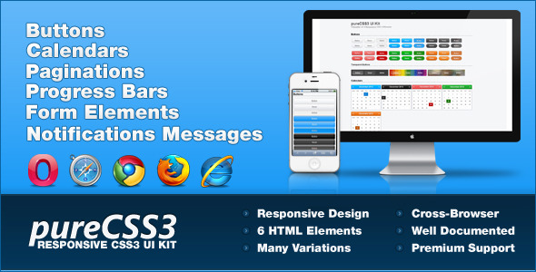 CodeCanyon pureCSS3 A Responsive User-Interface Kit 3331315
