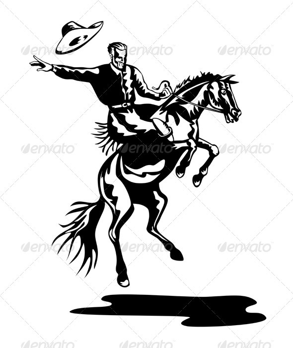 GraphicRiver Rodeo Cowboy Riding Bucking Bronco Horse 3331763