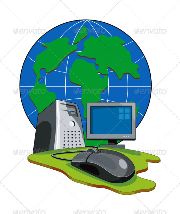 GraphicRiver Computer Mouse Connected Globe Retro 3331802
