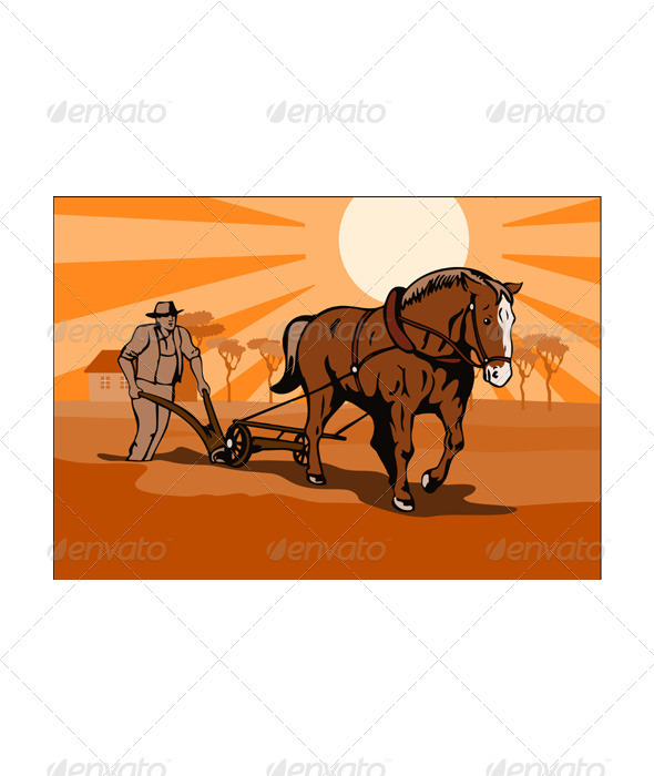 GraphicRiver Farmer and Horse Plowing Farm Retro 3331808