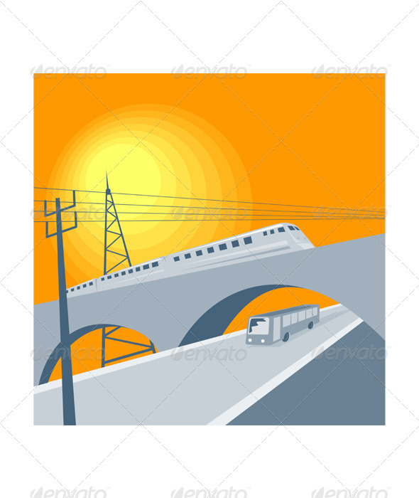 GraphicRiver Train Bus Viaduct Retro 3331851