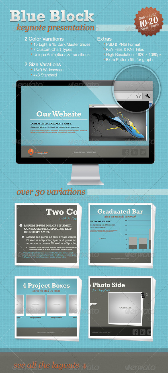 GraphicRiver Blue Block Keynote Template 3332972