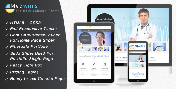 Medwin Responsive Medical Website professional website template