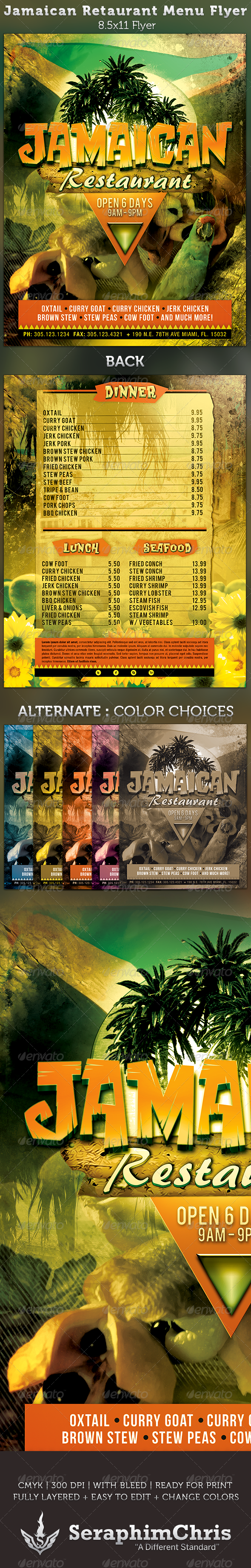 GraphicRiver Jamaican Restaurant Menu Flyer Template 3292284