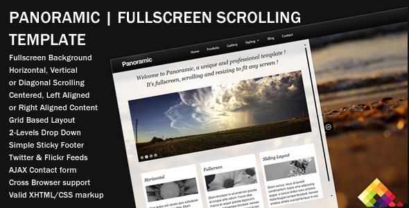 ThemeForest Panoramic Fullscreen Scrolling Layout 227108