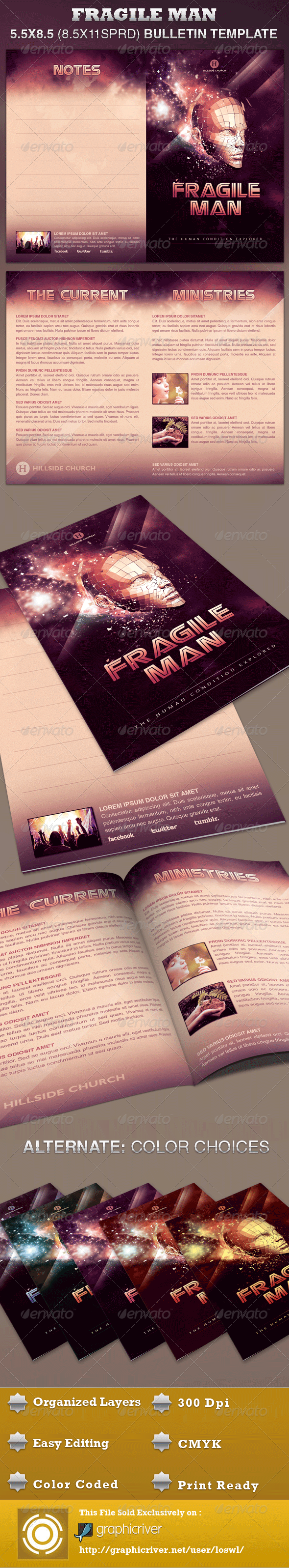 Fragile Man Church Bulletin Template - Church Flyers