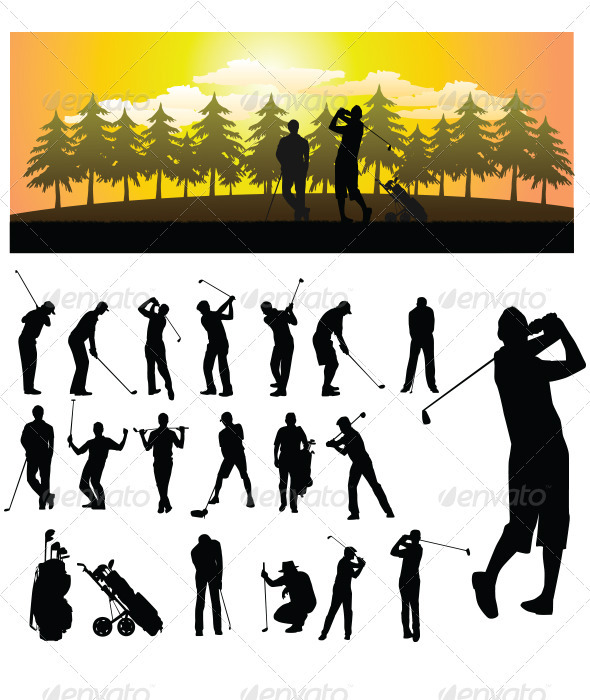 GraphicRiver Golf Silhouette 3337132