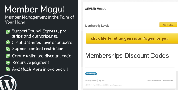 Member Mogul Member Management the Palm Your Hand Mentershp L.eIs Support Paypal Express, pro stripe and authorize.riet. click let generate Pages for you Creat