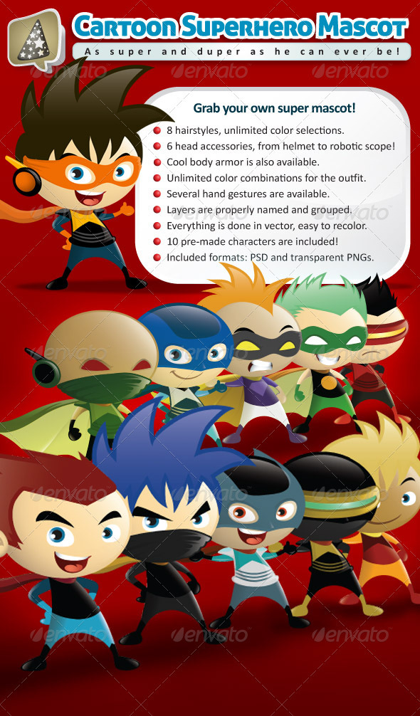 Cartoon Superhero Mascot Creator - Characters Illustrations