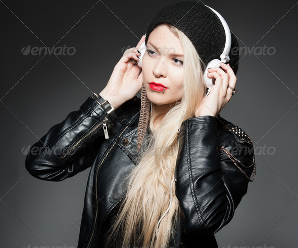 headphone girl - Stock Photo - Images