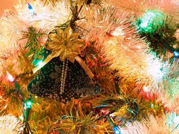 Christmas Tree Holiday Ornaments Hanging on a Tree - Stock Photo - Images
