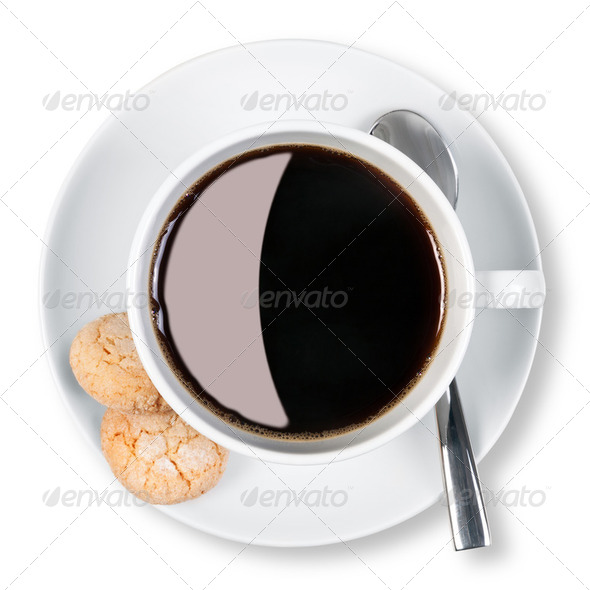 Cup of coffee and biscuits isolated clipping path. - Stock Photo - Images