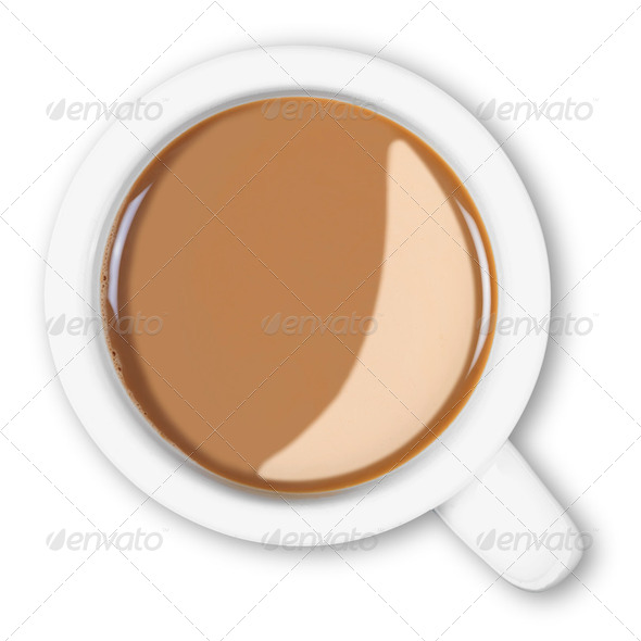 Overhead mug of coffee isolated clipping path. - Stock Photo - Images