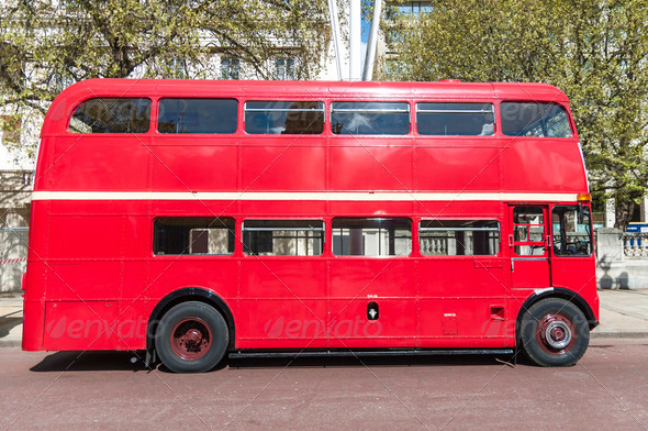 London famous red buses - Stock Photo - Images