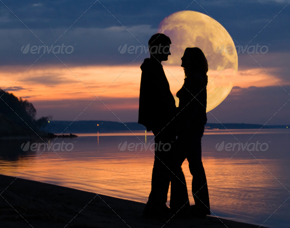 Pair and Moon - Stock Photo - Images