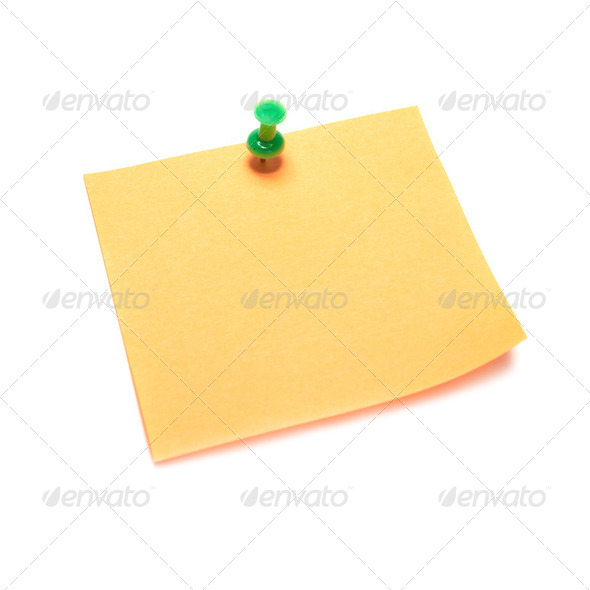 Orange note with tack - Stock Photo - Images