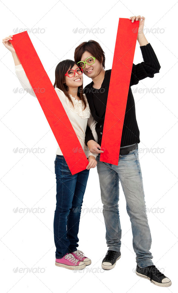 Happy Chinese new year. Young Asian couple holding  blank spring festival couplets - Stock Photo - Images