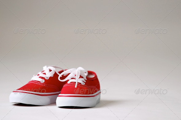 a pair red children shoes - Stock Photo - Images