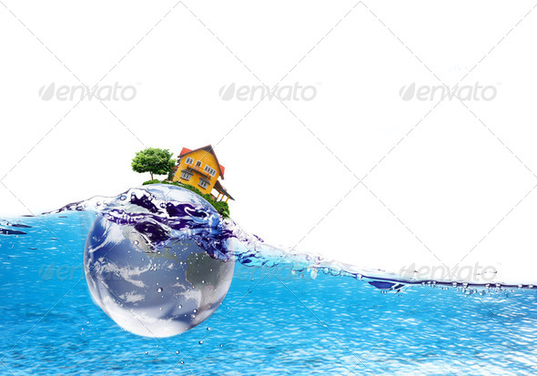 Earth and house falls deeply under water with a splash.Elements - Stock Photo - Images