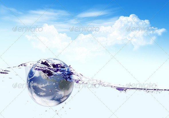 Earth falls deeply under water with a splash.Elements of this im - Stock Photo - Images