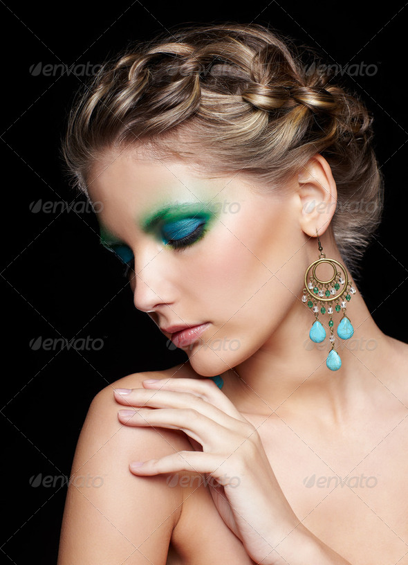 beautiful woman on black - Stock Photo - Images