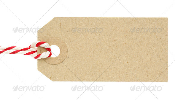Blank Cardboard Tag Label with Red and White String - Stock Photo - Images