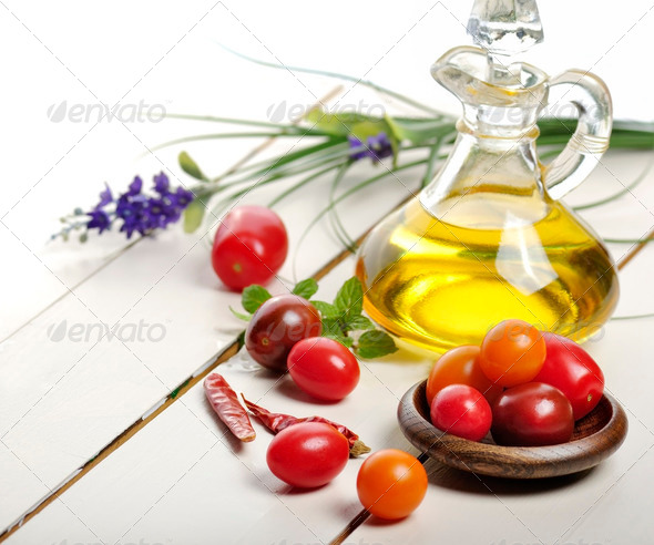 Cooking Oil And Vegetables - Stock Photo - Images