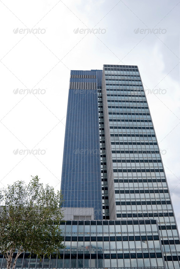 Twin Blue Tower Blocks - Stock Photo - Images