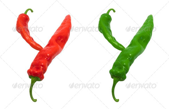 Letter Y composed of green and red chili peppers - Stock Photo - Images