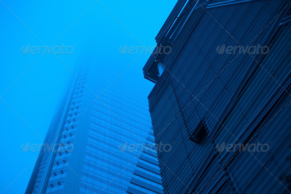 highrise buildings in fog details - Stock Photo - Images