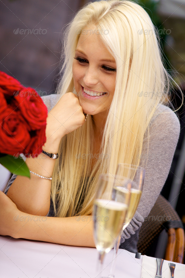 Cute girl on restaurant - Stock Photo - Images
