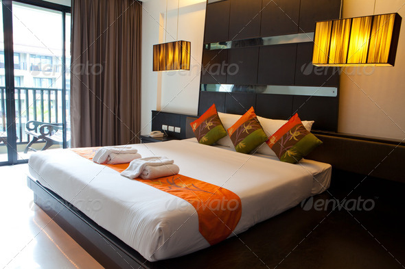 PhotoDune Hotel room with bed and wooden 2232283