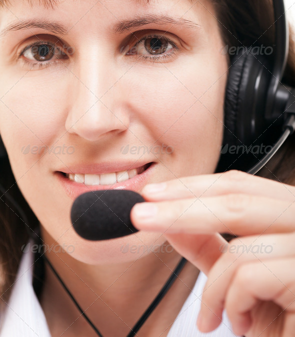 Business woman with headphone - Stock Photo - Images