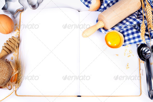 Open notebook and Basic baking ingredients - Stock Photo - Images