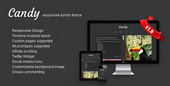 ThemeForest Candy Responsive Timeline Tumblr Theme 3340195