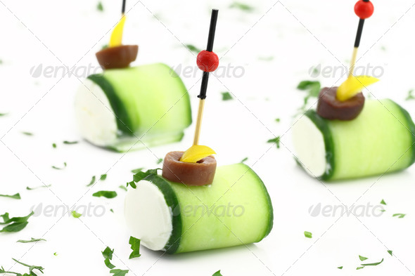 Finger food with Cucumber and cheese cream - Stock Photo - Images