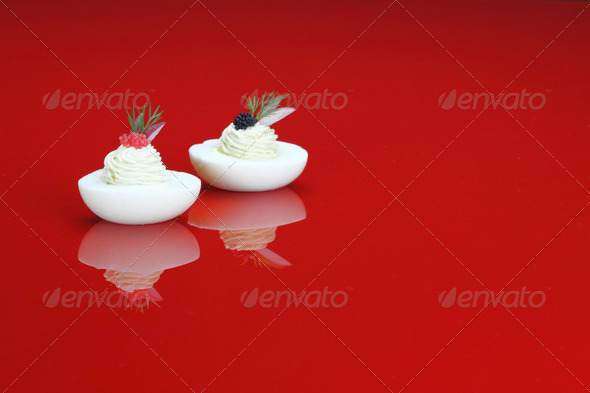 Canapes with egg and caviar - Stock Photo - Images