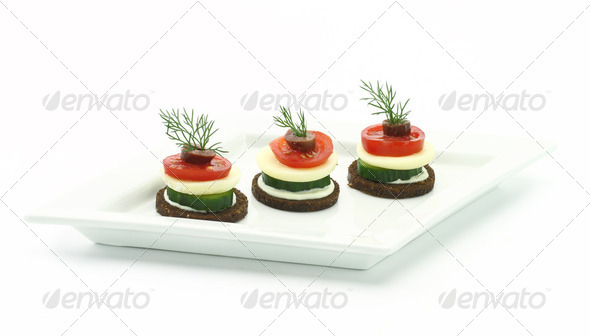 Canape with cheese and vegetables/ - Stock Photo - Images