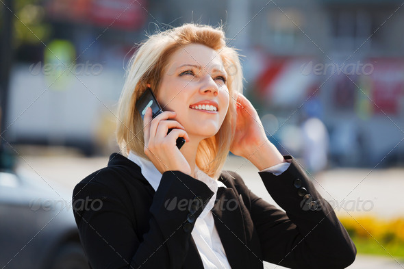 Businesswoman Calling On The Phone - Stock Photo - Images