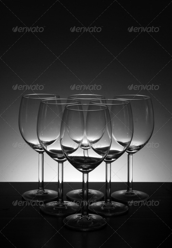 Empty wine glass in Beautiful light background - Stock Photo - Images
