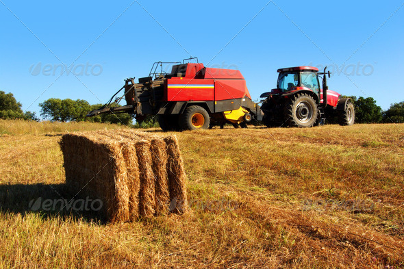 Tractor and Straw - Stock Photo - Images