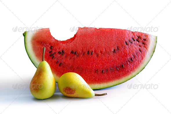 Watermelon and Pears - Stock Photo - Images