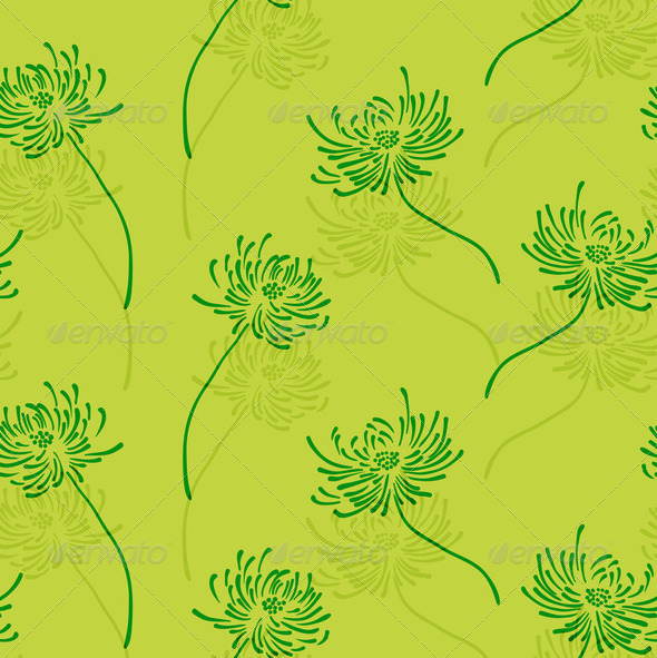 Hand drawn floral wallpaper with set of different flowers. - Stock Photo - Images
