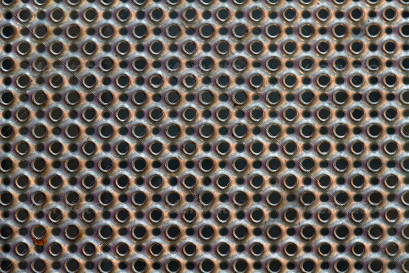 Round perforated metal plate texture - Stock Photo - Images